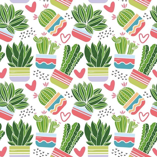 Tema de conjunto de patrón de cactus Vector Premium
