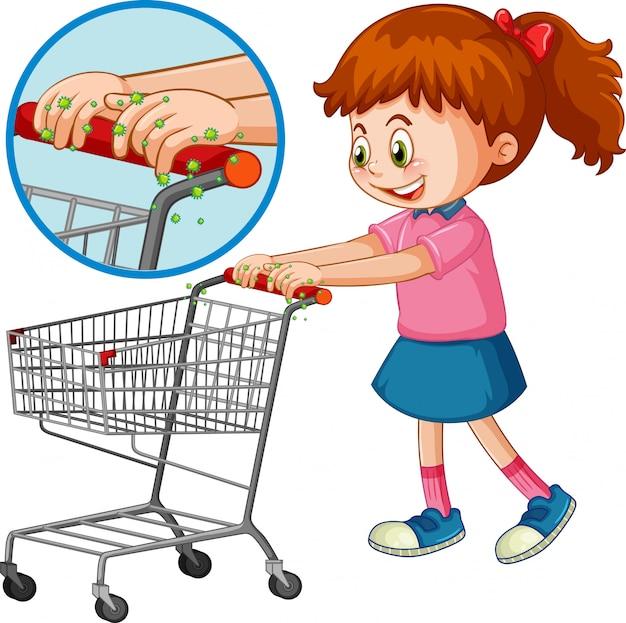 Tema de coronavirus con niña empujando el carrito de compras vector gratuito