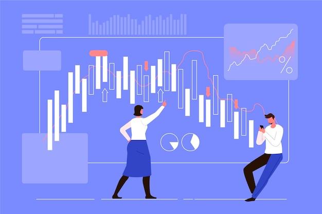 Tema de datos de la bolsa de valores vector gratuito