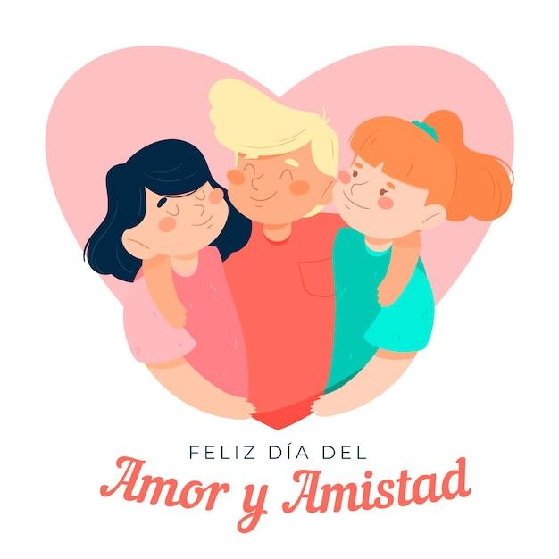 Tema del día del amor y la amistad vector gratuito