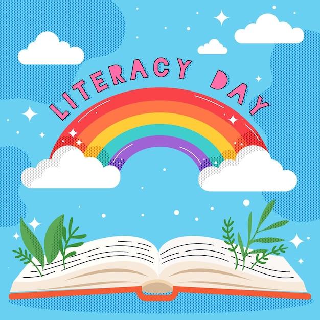 Tema del día internacional de la alfabetización vector gratuito
