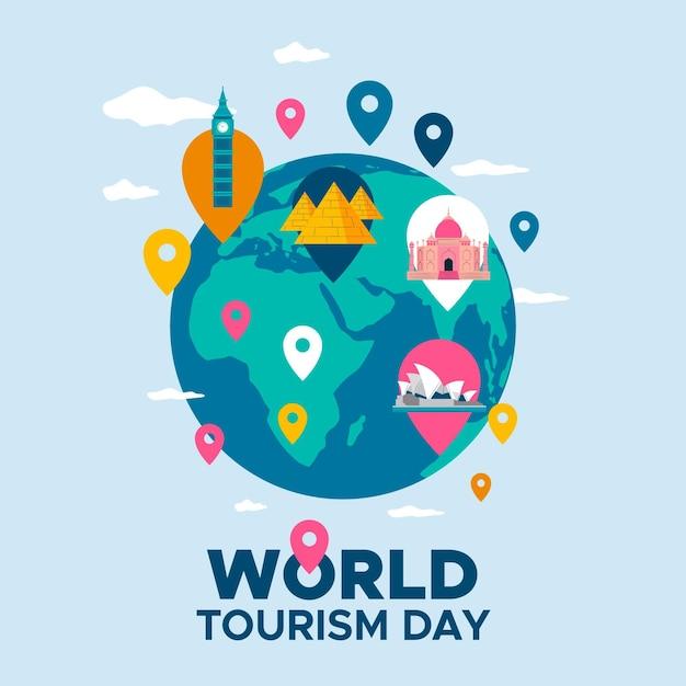 Tema del día mundial del turismo en diseño plano vector gratuito