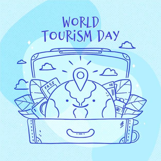 Tema del día del turismo dibujado a mano vector gratuito