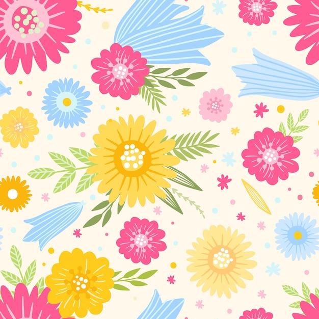 Tema del estampado de flores vector gratuito