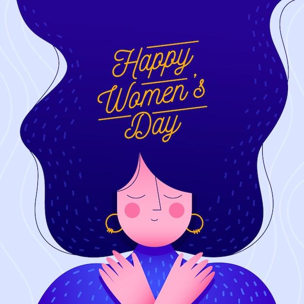 Tema de evento de día para mujer de diseño plano vector gratuito