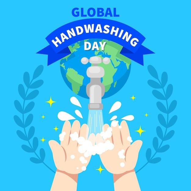 Tema del evento del día mundial del lavado de manos vector gratuito