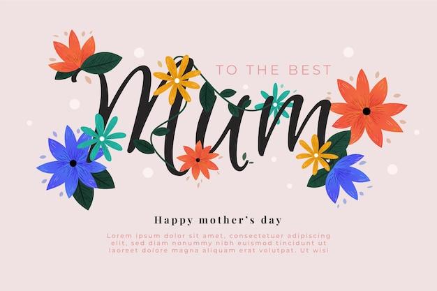 Tema floral del día de la madre vector gratuito