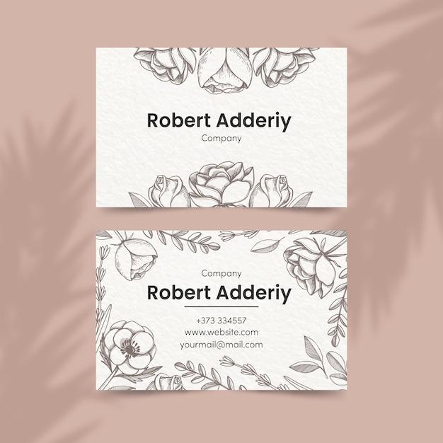 Tema floral para plantilla de tarjeta de visita vector gratuito