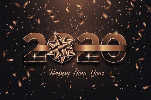 Tema de fondo de año nuevo con lazo de regalo vector gratuito