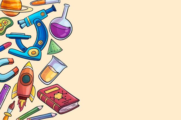 Tema de fondo de educación científica dibujado a mano vector gratuito