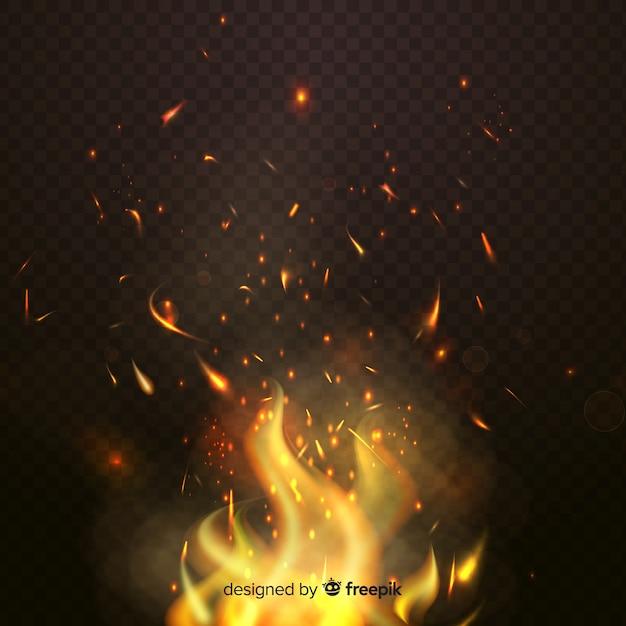 Tema de fondo de efecto de chispas de fuego vector gratuito