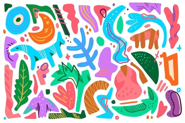 Tema de formas orgánicas dibujadas a mano para fondo de pantalla vector gratuito