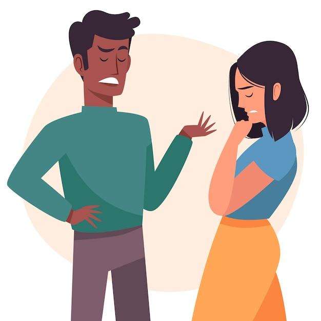 Tema de ilustración de conflictos de pareja Vector Premium