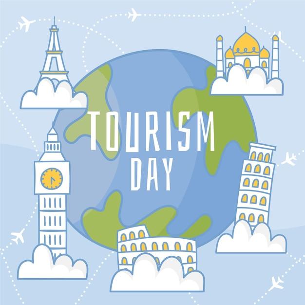 Tema de ilustración del día mundial del turismo dibujado a mano vector gratuito