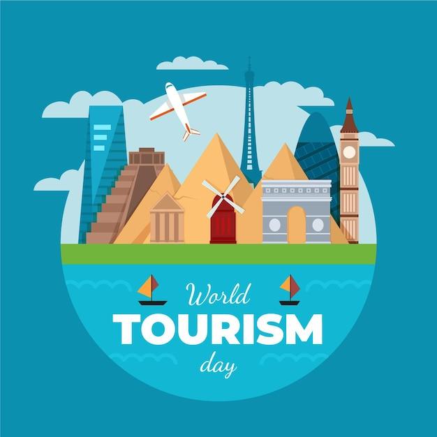Tema de ilustración del día mundial del turismo vector gratuito