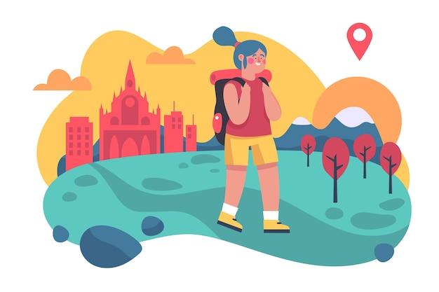 Tema de ilustración de turismo local vector gratuito