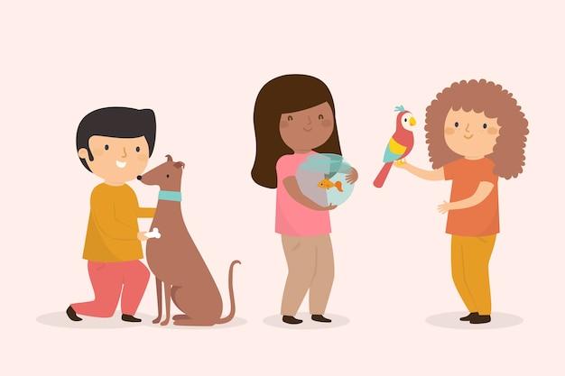 Tema ilustrado de personas con diferentes mascotas vector gratuito