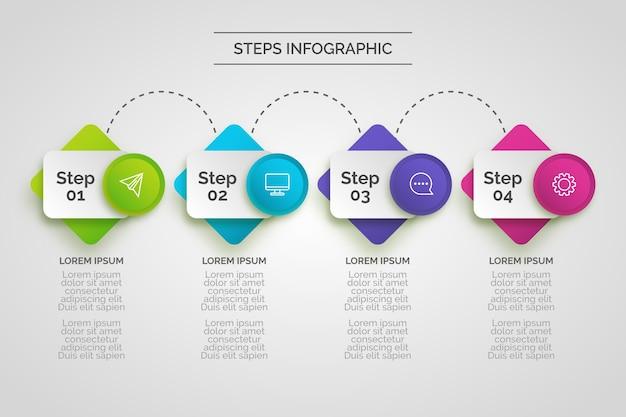 Tema de infografía de pasos vector gratuito