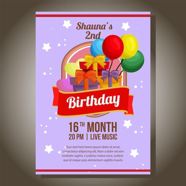 Tema de invitación de fiesta de cumpleaños con regalo de cumpleaños Vector Premium