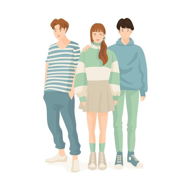 Tema de los jóvenes coreanos de moda vector gratuito