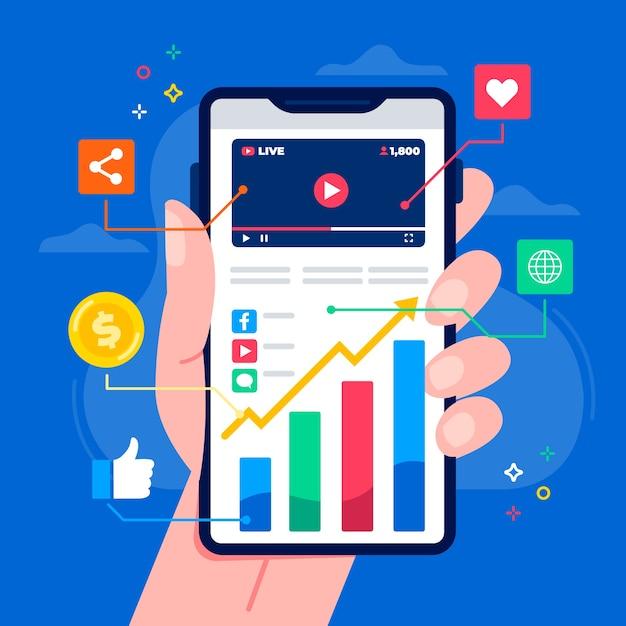 Tema de marketing en redes sociales en dispositivos móviles vector gratuito