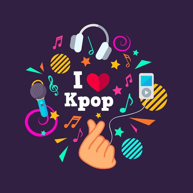 Tema de la música k-pop vector gratuito