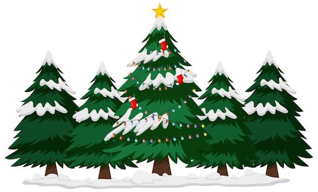 Tema de navidad con árbol de navidad en invierno vector gratuito