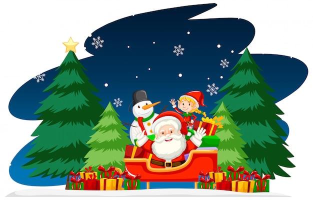 Tema de navidad con santa en la noche vector gratuito