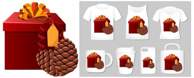 Tema navideño con caja de regalo en plantillas de productos vector gratuito