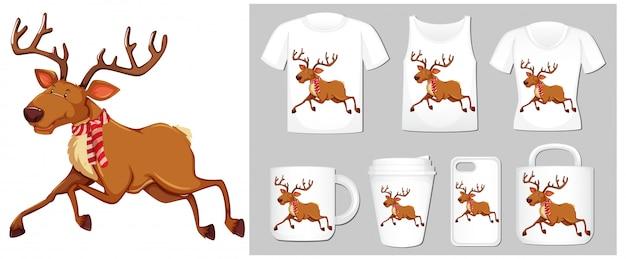 Tema navideño con renos en plantillas de productos vector gratuito