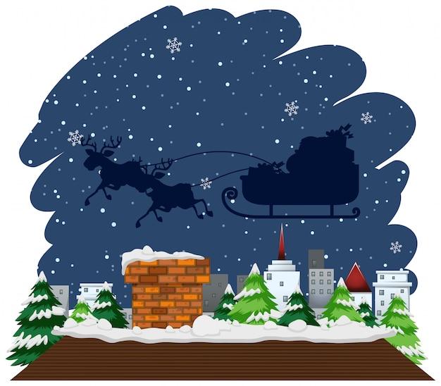 Tema navideño con trineo volando sobre la casa vector gratuito