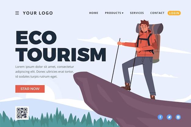 Tema de la página de destino de turismo ecológico vector gratuito