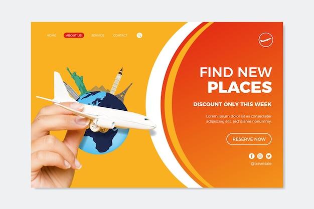 Tema de página de destino de venta de viajes vector gratuito