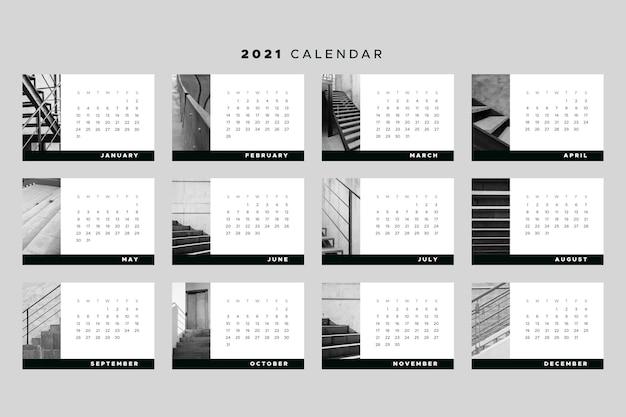 Tema de plantilla de calendario 2021 vector gratuito