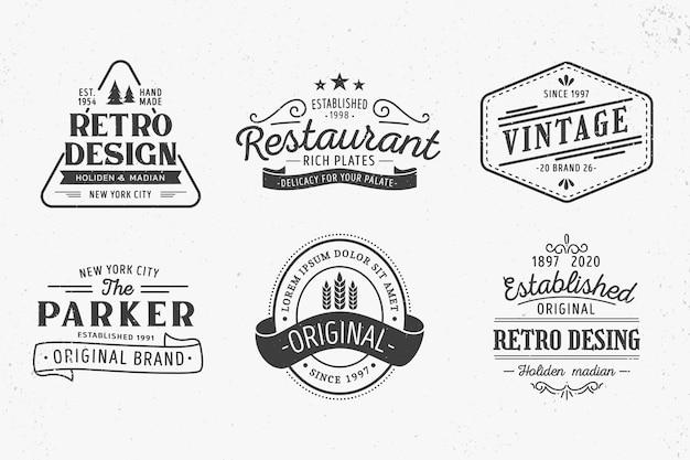 Tema de plantilla de colección de logotipo retro Vector Premium