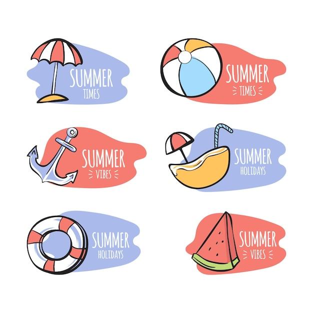 Tema de plantilla de etiquetas de verano vector gratuito