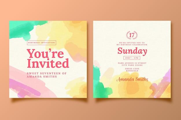 Tema de plantilla de invitación de cumpleaños elegante Vector Premium