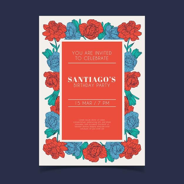 Tema de plantilla de invitación de tarjeta de cumpleaños floral vector gratuito