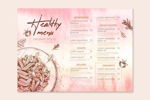 Tema de plantilla de menú de restaurante vector gratuito
