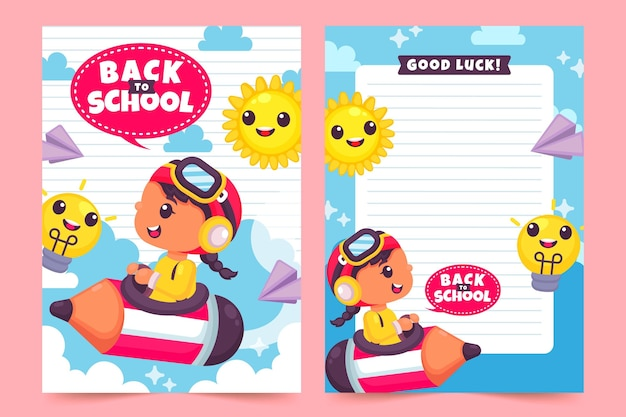 Tema de plantilla de tarjeta de regreso a la escuela vector gratuito