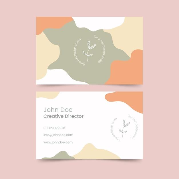 Tema de plantilla de tarjeta de visita con manchas de color pastel vector gratuito
