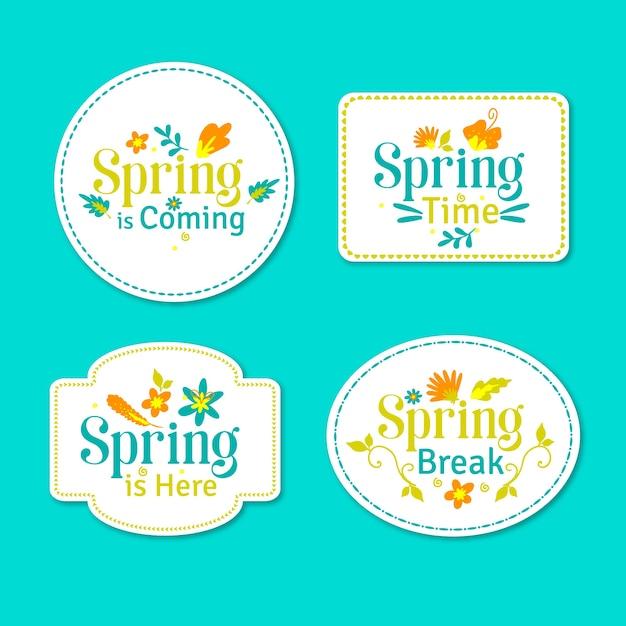 Tema de primavera para la colección de etiquetas vector gratuito