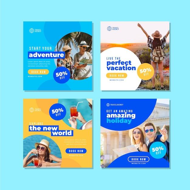 Tema de publicaciones de instagram de venta de viajes vector gratuito