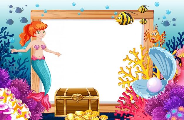 Tema de sirena y animal marino con estilo de dibujos animados de banner en blanco en el fondo del mar vector gratuito