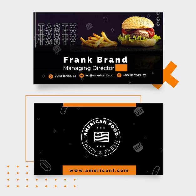 Tema de tarjeta de visita de comida americana Vector Premium