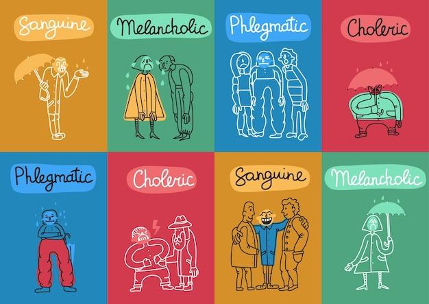 Temperamento 8 coloridas tarjetas de ilustración con 4 tipos de personalidad fundamentales nombres símbolos abstractos aislados vector gratuito