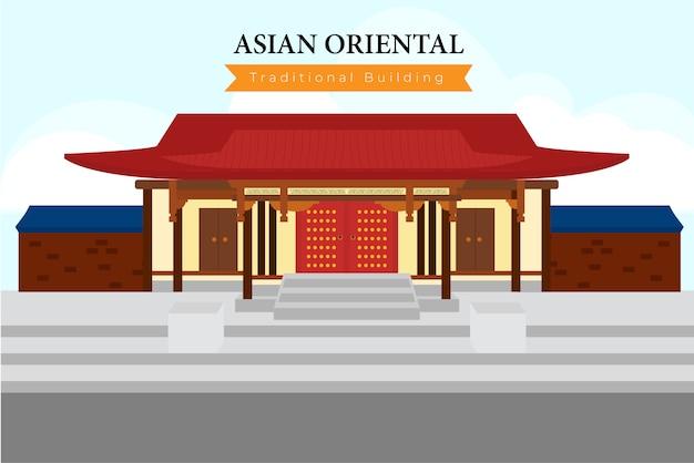 Templo de china, un edificio chino típico. Vector Premium