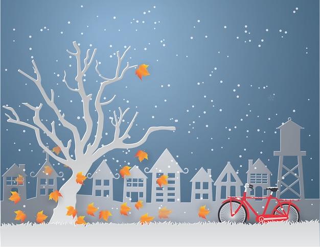 Temporada de invierno con hojas de naranja caen de los árboles y ...