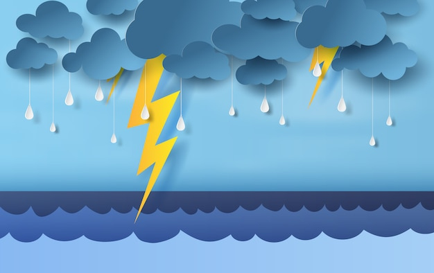 Temporada de lluvias en el mar con tormentas eléctricas Vector Premium