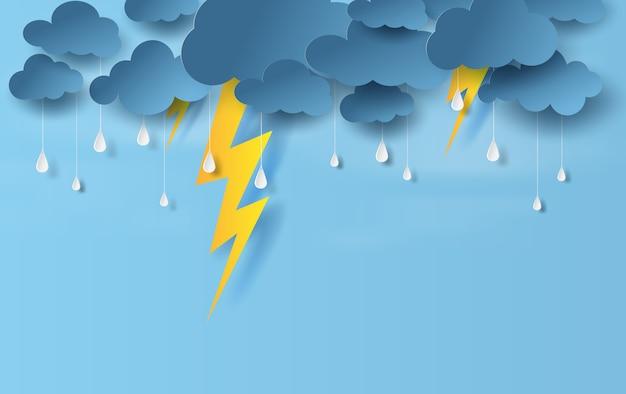Temporada de lluvias en tormentas eléctricas Vector Premium